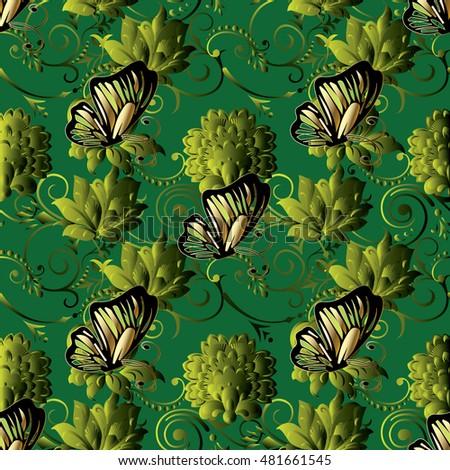 floral vintage  modern green