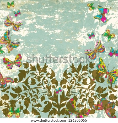 Floral vintage natural ornament with butterfly for Valentine's design, vector