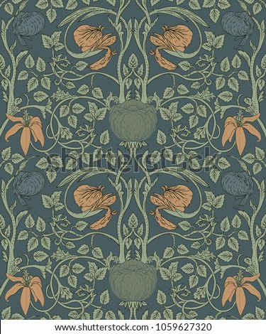 Floral vintage seamless pattern for retro wallpapers. Enchanted Vintage Flowers.  Arts and Crafts movement inspired.