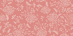 Floral vintage seamless pattern. Pink and white. Oriental style. Vector illustration art. For design textiles, paper, wallpaper.