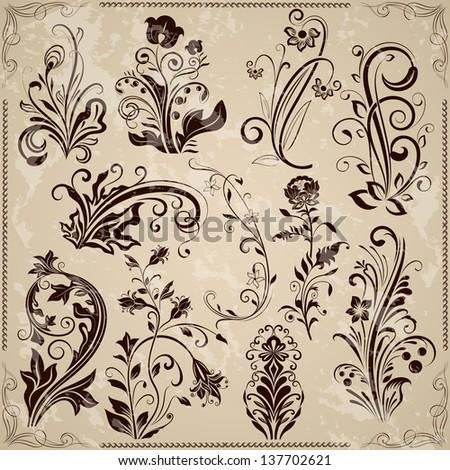 Floral vintage vector design elements isolated on beige background. Set 23. #137702621