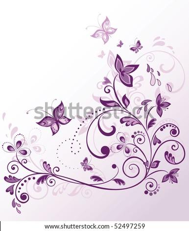 Floral Violet Border Stock Vector Illustration 52497259 ...  Shutterstock Border Design Free Download