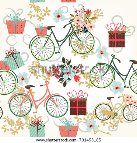 Floral wallpaper pattern with bicycles and flowers