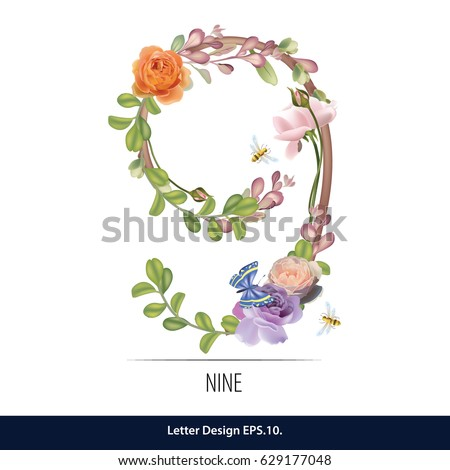 floral watercolor number
