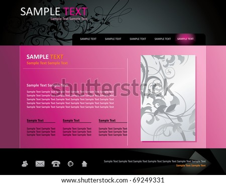 floral website vector template