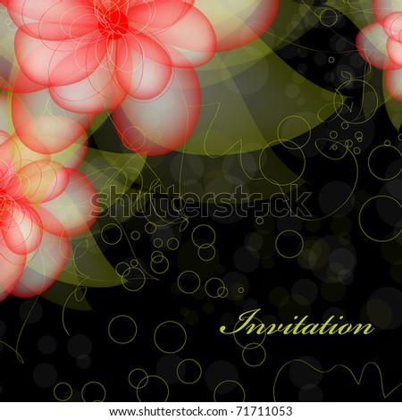 stock vector Floral wedding card on black background