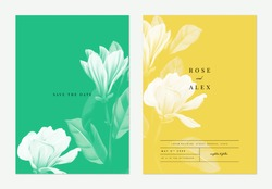 Floral wedding invitation card template design, Anise magnolia flowers with leaves on green and yellow, two tones color