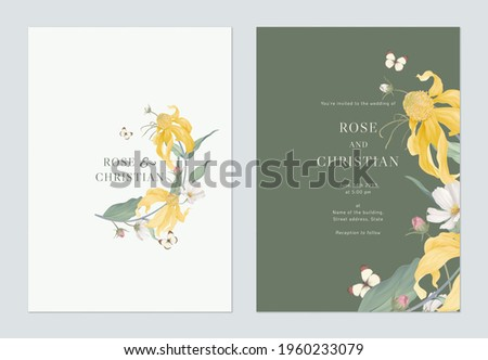 Floral wedding invitation card template design, Cutleaf coneflower with cosmos flowers and leaves on green
