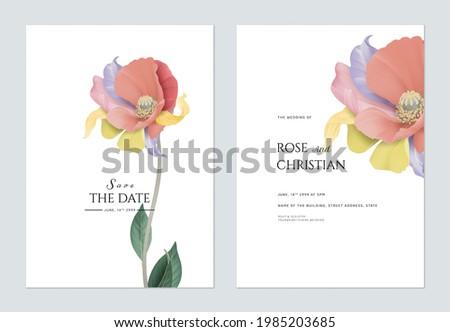 Floral wedding invitation card template design, fancy flower on white