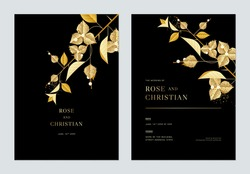 Floral wedding invitation card template design, golden Bougainvillea flowers with leaves on black