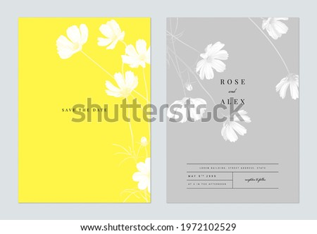Floral wedding invitation card template design, monochrome cosmos flowers with leaves on yellow and grey, two tones color