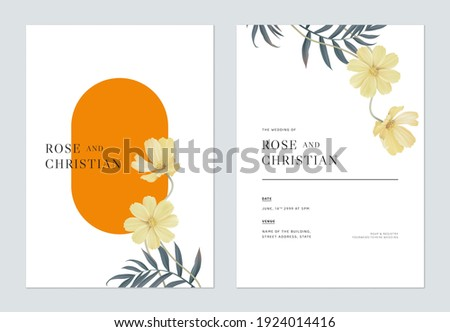 Floral wedding invitation card template design, orange cosmos flowers with leaves