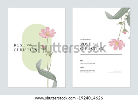 Floral wedding invitation card template design, pink cosmos flowers with leaves
