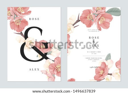 Floral wedding invitation card template design, pink Japanese quince flowers with ampersand lettering on white, pastel vintage theme
