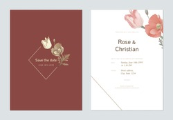 Floral wedding invitation card template design, tulip and poppy flowers