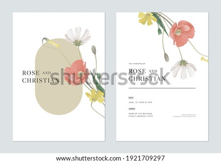 Floral wedding invitation card template design, various flowers bouquet on white