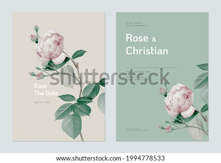 Floral wedding invitation card template design, vintage pink rose with leaves on brown and green