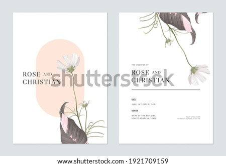 Floral wedding invitation card template design, white cosmos flowers with leaves