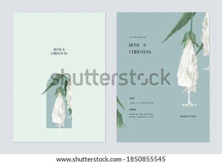 Floral wedding invitation card template design, white sleeping hibiscus flowers with leaves on blue