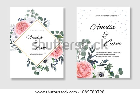 Floral wedding invitation card with pink garden rose,ranunculus,white anemone, eucalypyus leaves in watercolor style.Botanical set template with gold frame for invite, covers and greeting,package