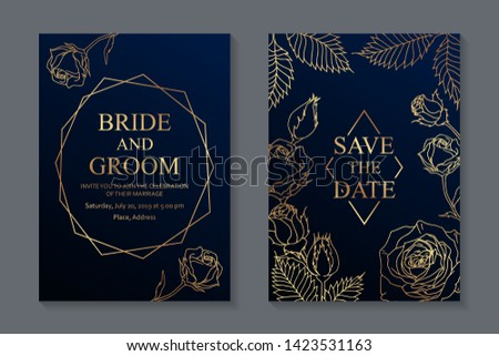 Floral wedding invitation design or greeting card templates with golden roses and frames on a dark blue background.