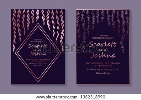 Floral wedding invitation design or greeting card templates with rose gold willow branches and leaves on a purple background.