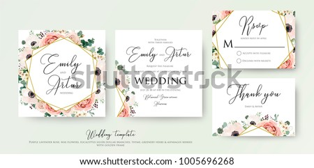 Floral Wedding Invitation elegant invite, thank you, rsvp card vector Design: garden flower pink, peach Rose, white wax Anemone, green Eucalyptus tender greenery, berry bouquet, golden geometric frame #1005696268