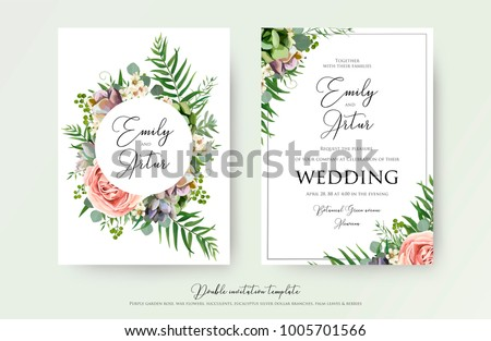 Floral Wedding Invitation elegant invite, thank you, rsvp card vector Design: garden pink, peach Rose flower, white wax, succulent, cactus plant, green Eucalyptus tender greenery, berry trendy bouquet #1005701566