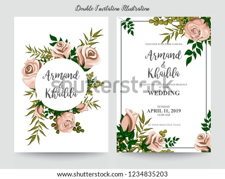 Floral Wedding Invitation elegant invite, thank you, rsvp card vector Design: garden pink, peach Rose flower, trendy bouquet #1234835203