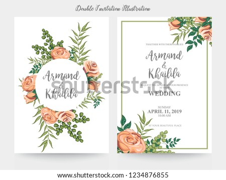 Floral Wedding Invitation elegant invite, thank you, rsvp card vector Design: garden pink, peach Rose flower, trendy bouquet #1234876855