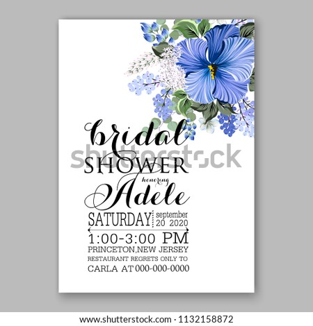Floral wedding invitation or greeting card blue hibiscus Wreath of flower for marriage baby shower bridal shower invitation, party celebration vector printable template watercolor background