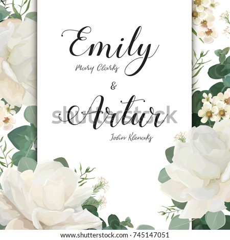 floral wedding invitation save