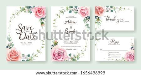 blossom invitations Handpainted watercolor ronunculus pink Juliet Watercolour Flowers Clipart romantic floral wedding diy greetings