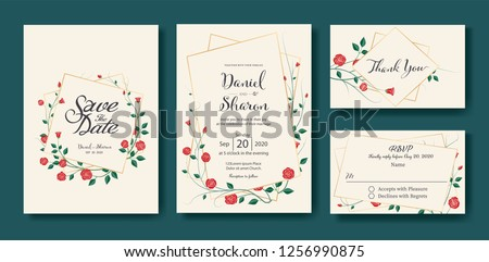 Floral wedding Invitation, save the date, thank you, rsvp card Design template. Vector. Vintage red rose flower vector.