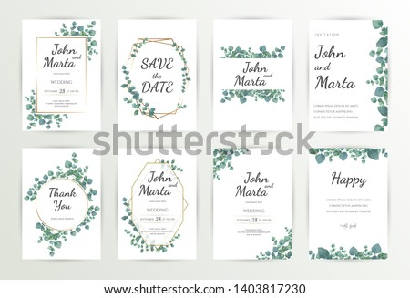 Floral Wedding Invitation Template, Green Wedding Invitation, Wedding Invitation Suite, Wedding Invitation Set. eps10 #1403817230