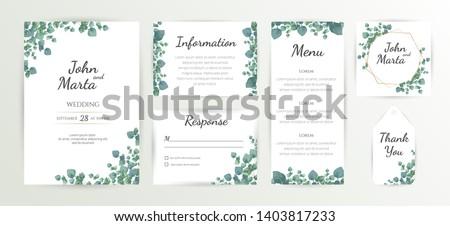 Floral Wedding Invitation Template, Green Wedding Invitation, Wedding Invitation Suite, Wedding Invitation Set. eps10