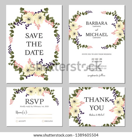 Floral wedding invitation template set with anemone flower bouquet decoration. Realist style of bridal cards. #1389605504