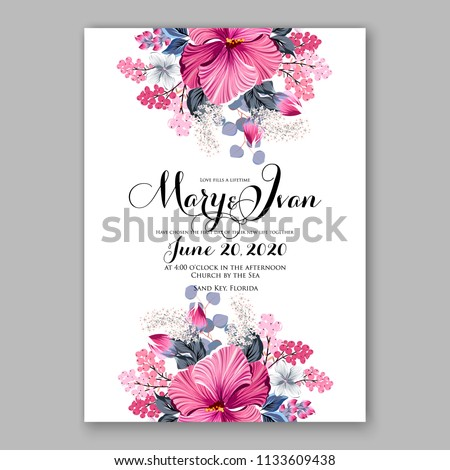 Floral wedding invitation vector card template Marriage flower background bridal shower invite, baby shower party invitation, save the date hibiscus tropical hawaii aloha luau party