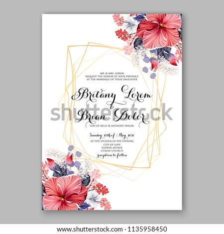 Floral wedding invitation vector printable card template Bridal shower bouquet flower marriage ceremony wording text tropical hibiscus aloha luau