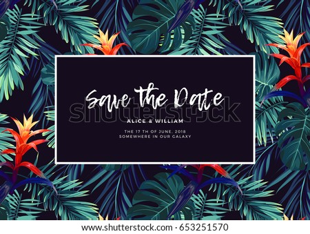 Free hawaiian background vector download free vector art stock floral wedding invitation with guzmania flowers monstera and royal palm leaves exotic hawaiian vector stopboris Gallery