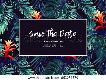 Hawaiian background vector download free vector art stock floral wedding invitation with guzmania flowers monstera and royal palm leaves exotic hawaiian vector stopboris Gallery