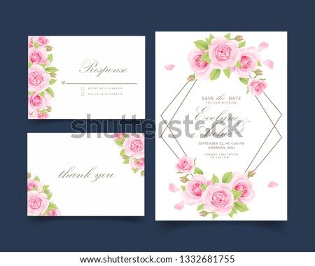 floral wedding invitation with pink rose   #1332681755