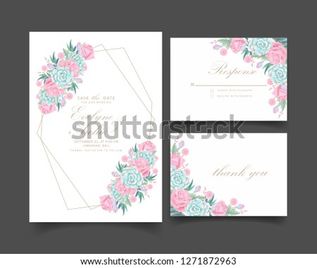 floral wedding invitation with roses flower and succulent #1271872963