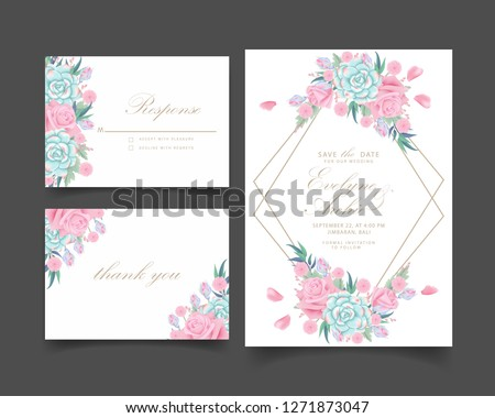 floral wedding invitation with roses flower and succulent #1271873047