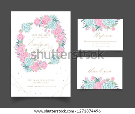 floral wedding invitation with roses flower and succulent #1271874496