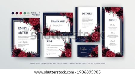 floral wedding invite  menu