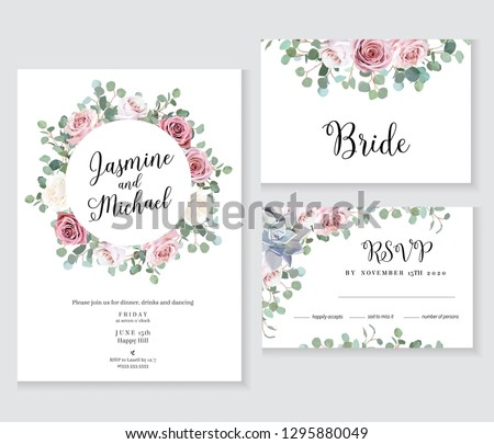 Floral wedding vector frames. Hand painted pale pink roses, eucalyptus branches, leaves, succulents on white background. Greenery invitation. Watercolor style cards. Isolated and editable
