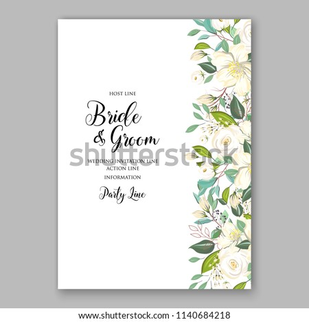 Floral white rose greenery wedding invitation or bridal shower card vector template peony anemone