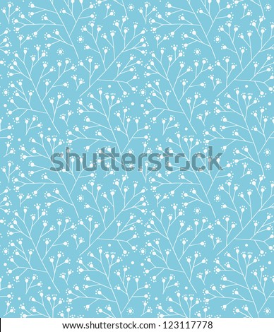 Floral winter pattern. Decorative branches seamless background - stock vector