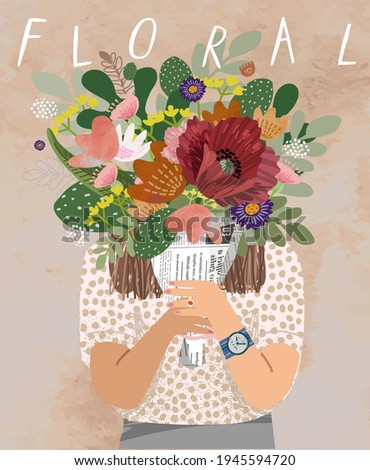 Floral. Woman with flower bouquet. Vector watercolor illustration of a girl holding flowers, plants and leaves. Greeting card for congratulations on mother's day, birthday and women's day